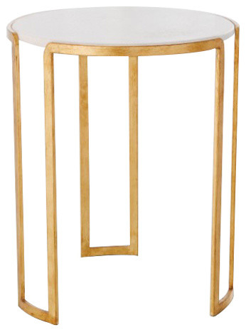 Elegant Midcentury Linear Gold Accent Table Round White Marble