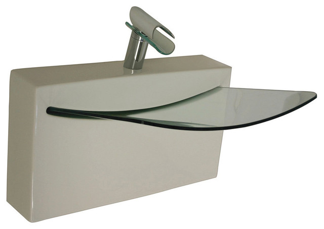 La Toscana Crystal Wall Mounted Ceramic Bathroom Sink With Tempered Glass  Bowl Contemporary Bath