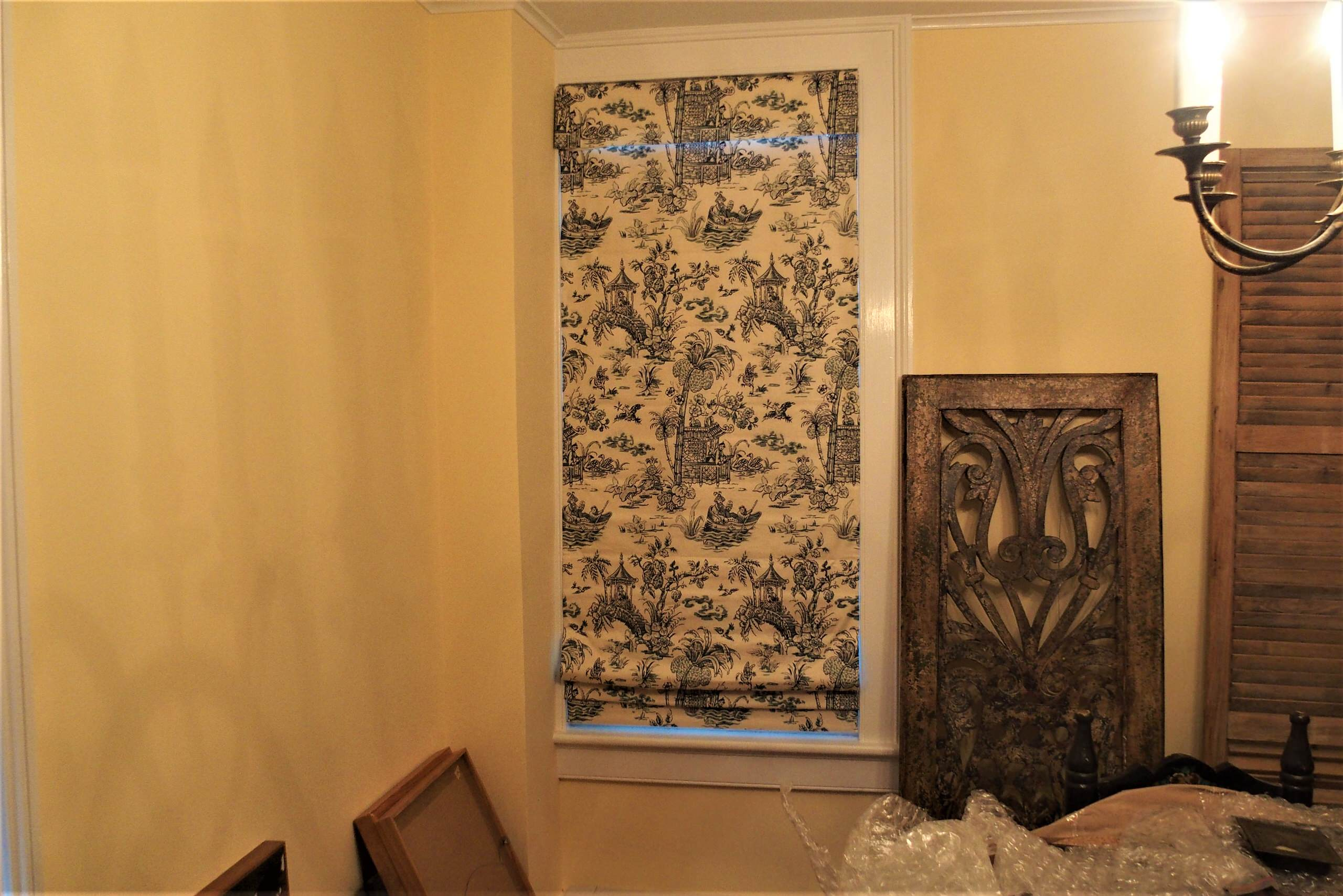 Five top down bottom up Roman shades in a vintage home in Connecticut