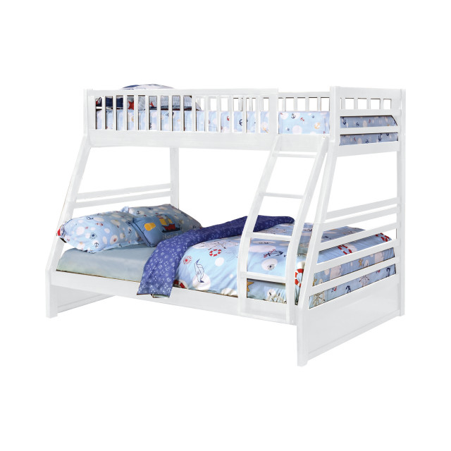 Ephram Convertible Twin Over Full Bunk Bed, White, Trundle Included