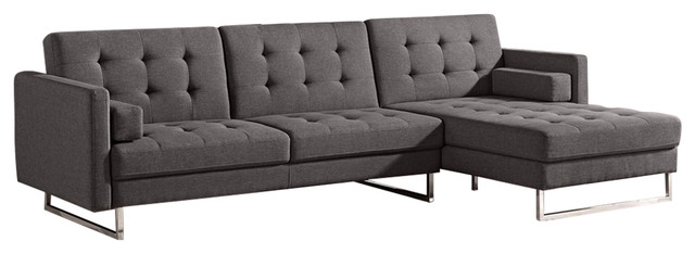 Diamond Sofa Opus Convertible Tufted Chaise Sleeper Sectional Sofa