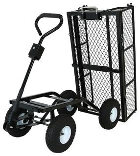 Sunnydaze Heavy Duty Dump Cart With Liner - Contemporary - Wheelbarrows And Garden Carts - by ...