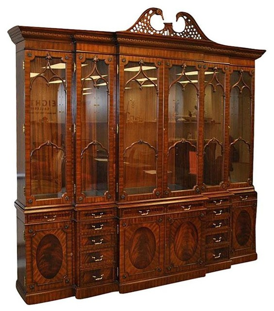 Merveilleux Extra Large 6 Door Mahogany China Cabinet With Lights