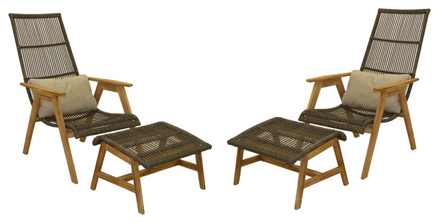 4-Piece Teak And Wicker Basket Lounger Set.