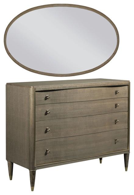 American Drew Ad Modern Classics Cameron Bureau With Ramsey Oval Mirror.