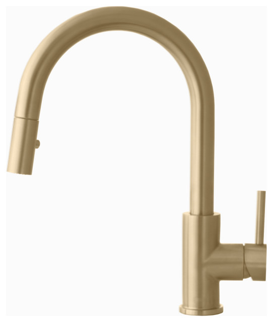 Modern Single Handle  Pull down Sprayer  Kitchen Faucet in Gold Finish