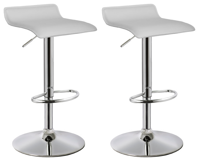 Ray Faux Leather Adjustable Bar Stools, Set of 2, White
