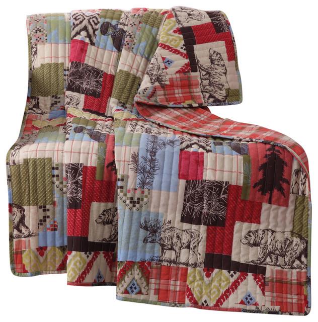 "Greenland Rustic Lodge Throw Blanket, Multi, 50""x60""."