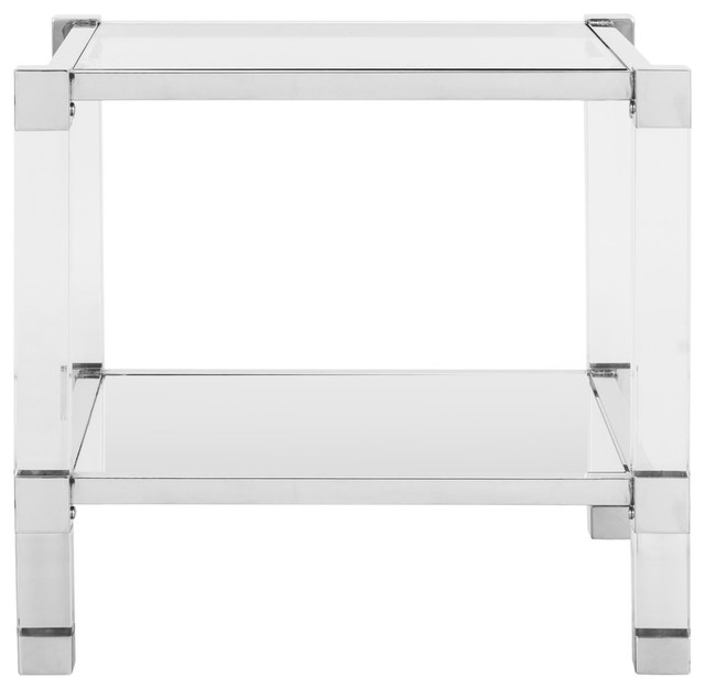 Angie Acyrlic End Table, Chrome.
