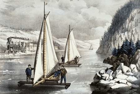 Ice Boat Race on The Hudson Poster Print by Currier and Ives