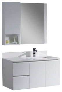 """Monaco 36"""" Wall Mount Right Vanity Set With Mirror and Wall Cabinet, Matte White"""