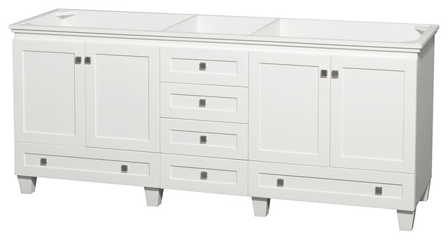 "Acclaim Double Vanity, White, 80"", No Countertop, No Sink."