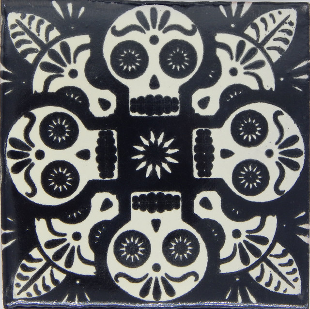 Individual Piece Mexican Talavera Handmade Tile Day Of The Dead Sample