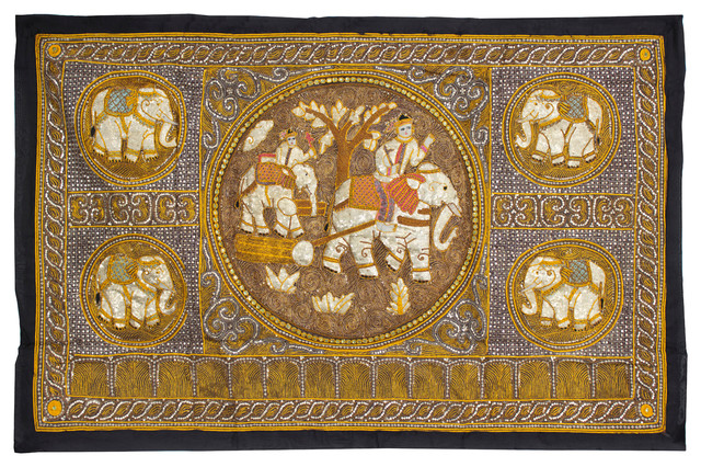 Elephant Tapestry Wall Hanging large burmese elephant tapestry wall hanging - asian - tapestries