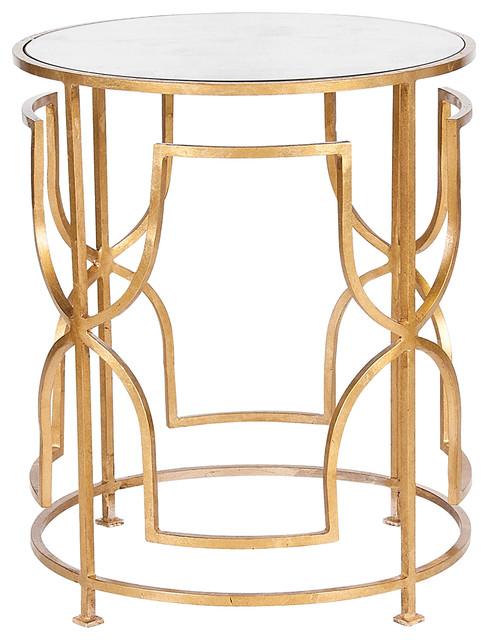 Glenda Hollywood Regency Round Gold Antique Mirror Side Table