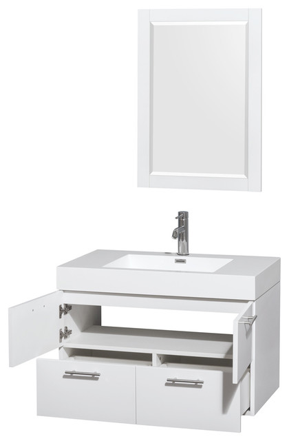 """Amare Single Vanity With Acrylic Resin Top, Integrated Sink And 24"""" Mirror."""