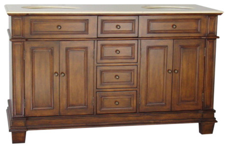 """60"""" Timeless Classic Sanford Double Sink Bathroom Vanity And Mirrors Set."""