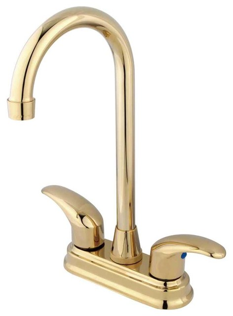 Polished Brass Bathroom Faucet: Legacy 2 Handle 4 Centerset Bar Faucet, Polished Brass