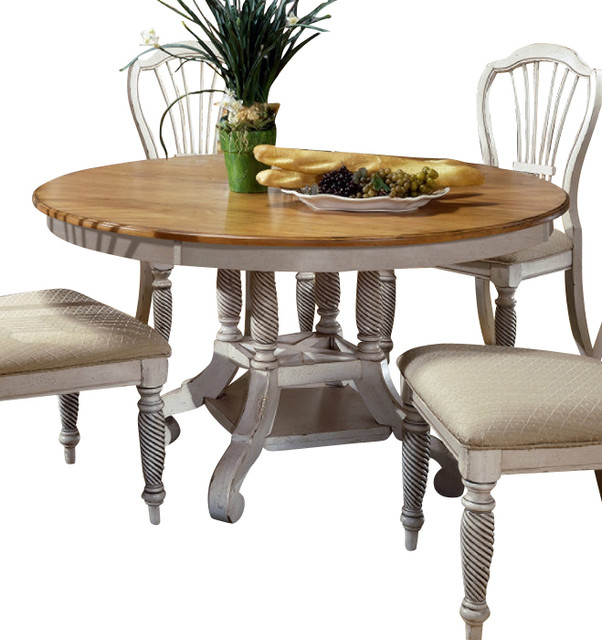 hillsdale wilshire 56x56 round to oval dining table in pine traditional dining tables - Round Pine Kitchen Table