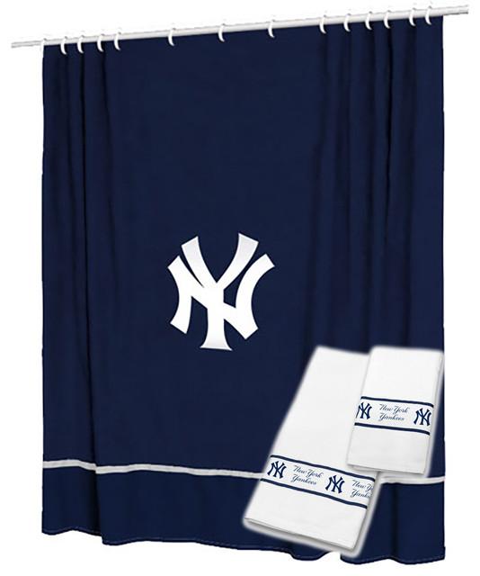 New York Yankees Shower Curtain Bath Towel Set Baseball Bath shower-curtains