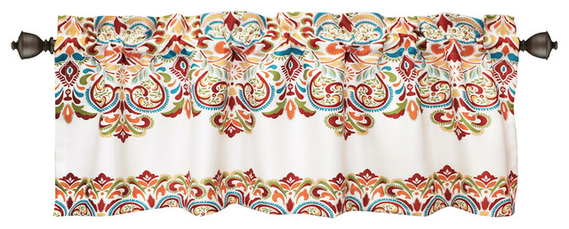 Clara Room Darkening Valance, Turquoise/orange.