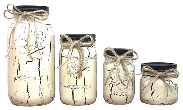 Ivory Crackle Finish Painted Mason Jar Canisters, 4-Piece Set.