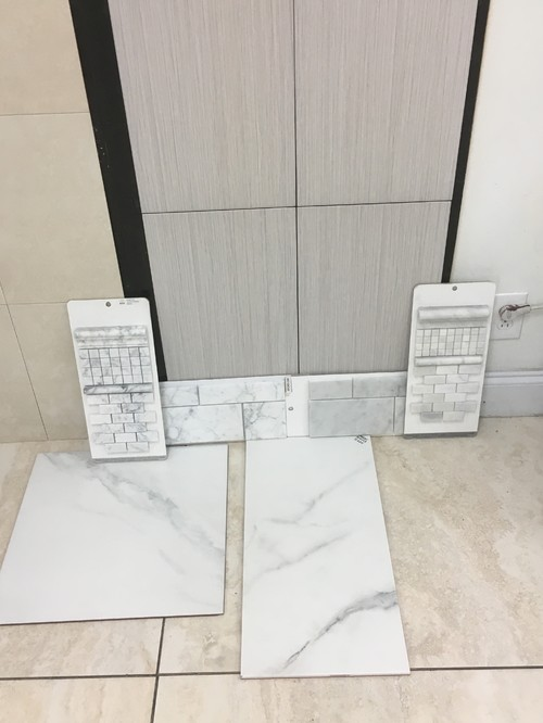 I Have White Carrera Tile Gong In Shower And Similar Porcelain Tile On  Floor. The Grout Is A Platinum I Wish For The Tile To Not Be Contrasted By  The Grout.