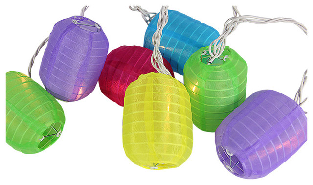 Attrayant Bright And Colorful Cylinder Chinese Lantern Patio Lights, White Wire, Set  Of 10
