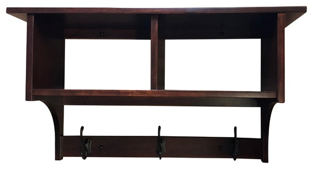 Shaker Cubby Coat Rack Shelf Wall Mounted Solid Rustic Cherry Wood, 3 Hooks.