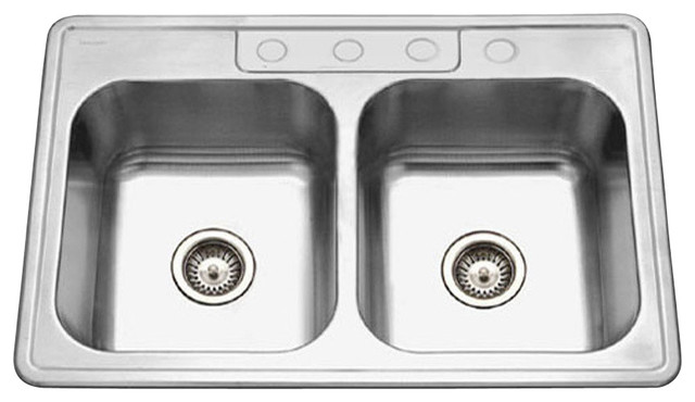 Houzer A3322-65bs3-1 Ada Glowtone Stainless Steel 3-Hole 50/50 Double Bowl Sink.