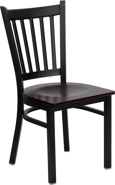 Hercules Series Back Metal Chair, Wood Seat, Mahogany by Flash Furniture