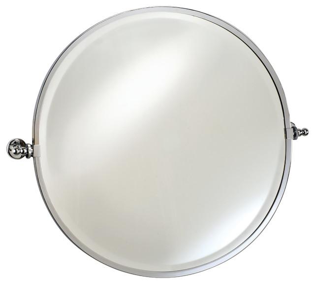 "Round Mirror With Trim, Polished Chrome, Round 24""."