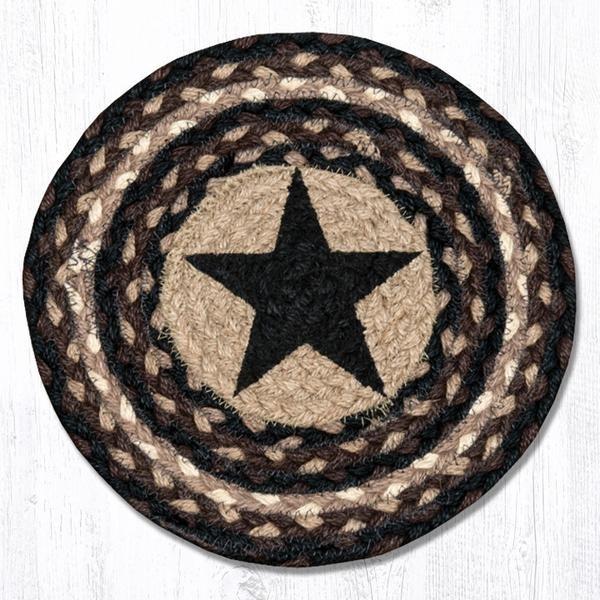 Black Star Hand Printed Round Swatch Rug