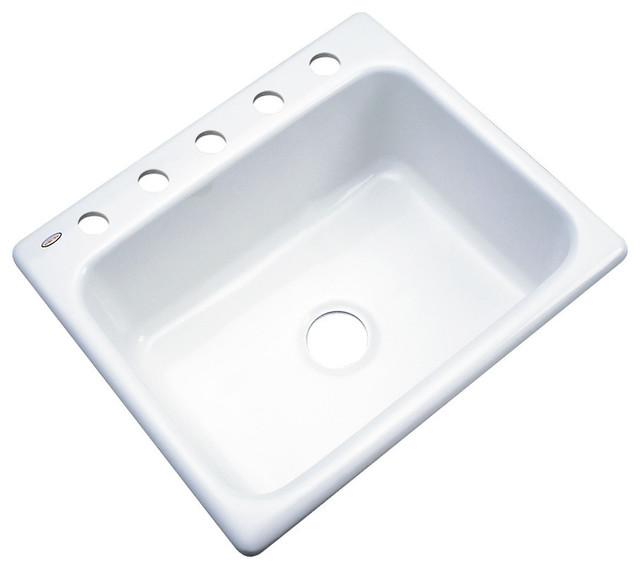 "Madison 5-Hole Kitchen Sink, White, 25"" X 22""."