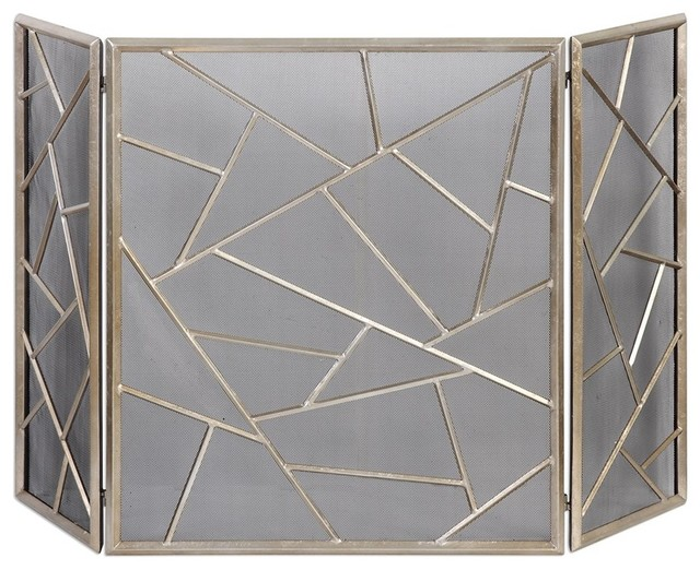Uttermost armino silver leaf fireplace screen for Silver fireplace doors