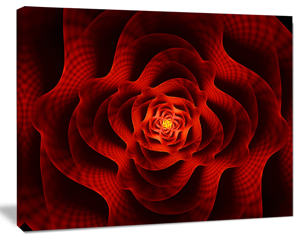 Fractal Red Flower Of Love Flower Artwork On Canvas Contemporary Prints And Posters By Designart