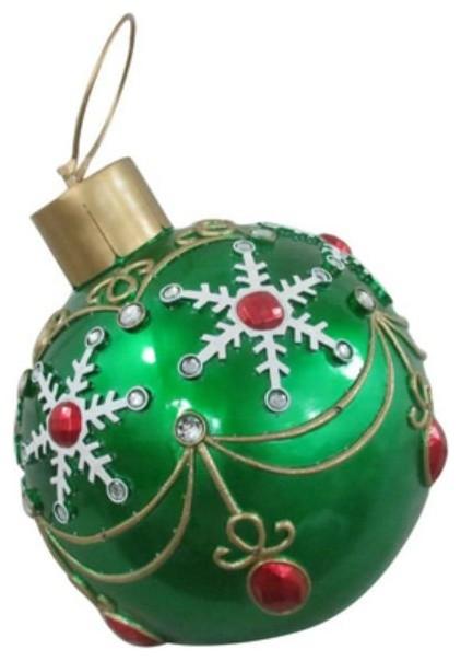 Reson 17094xt Led & Fiber Optic Lighted Oversized Christmas Ornament, Green, 17.