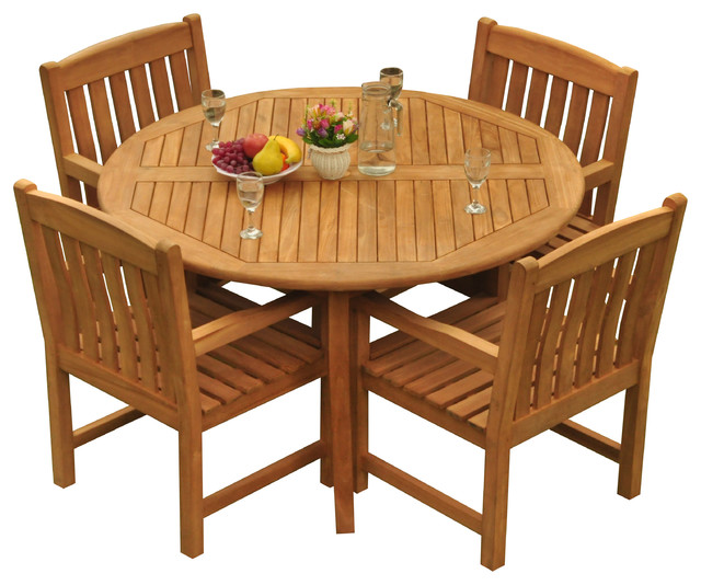 Pleasant 5 Piece Outdoor Patio Teak Dining Set 52 Round Table 4 Devon Arm Chairs Pdpeps Interior Chair Design Pdpepsorg