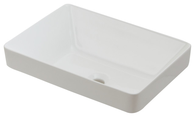 Ordinaire Semi Recessed Fireclay Vessel Sink, White