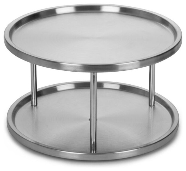 Estilo 2 Tier Lazy Susan with 360-degree Turntable, Stainless ...