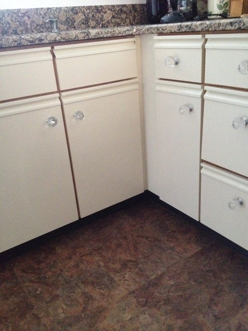 Those heinous white and oak melamine cabinets