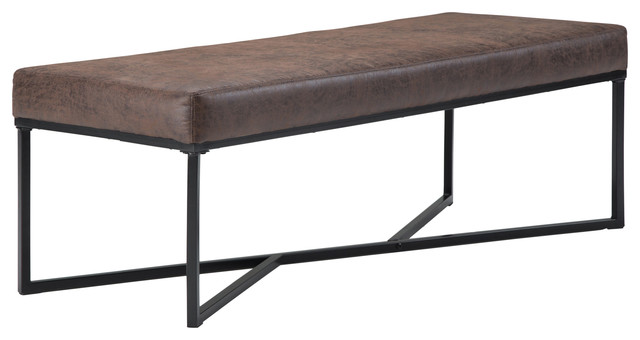 """Logan 54"""" Ottoman Bench, Distressed Cocoa Brown Air Faux Leather. -1"""