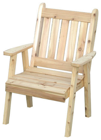 Cedar Traditional English Outdoor Lawn/Dining Chair, Unfinished