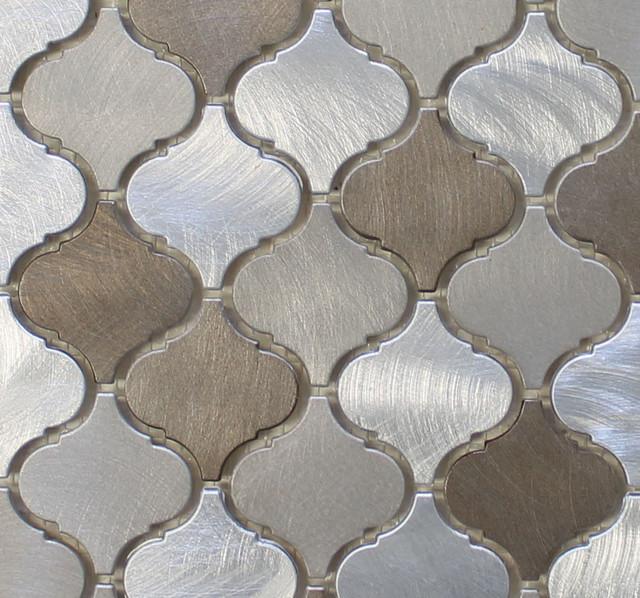 New Amsterdam Brushed Aluminum Arabesque Mosaic Tile Chip Size 2 X2