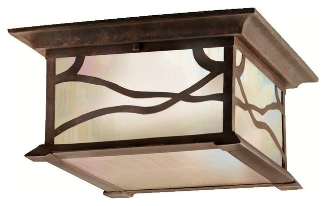 Kichler 9838DCO 2 Light Outdoor Ceiling Fixture from the Morris
