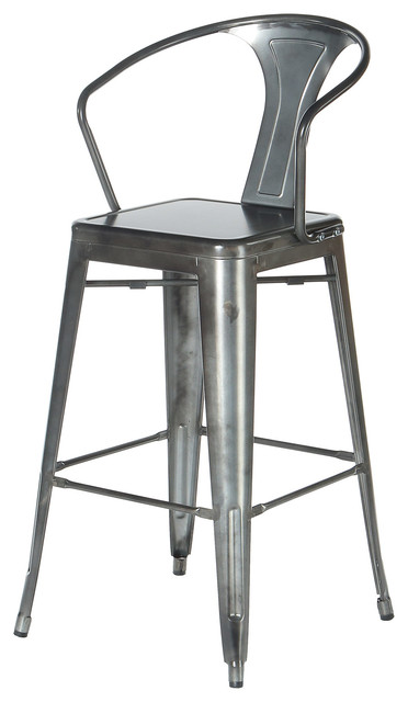 Polivaz Counter Stool Gunmetal Gray Modern Bar Stools