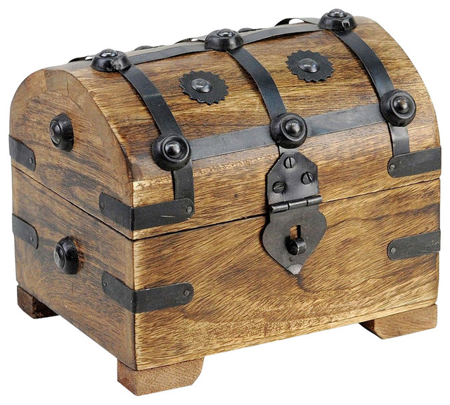 Traditional Storage Chest, Wood and Metal Construction, Perfect for Storage