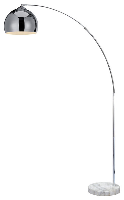 Maison Arc Floor Lamp, Silver Shade And White Marble Base.