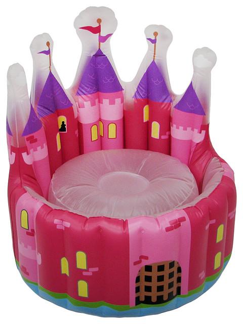 Shop Houzz Zeckos Inflatable Pink Princess Castle Chair