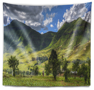 Lesotho Mountains Panorama Landscape Wall Tapestry Contemporary Tapestries By Design Art Usa Houzz